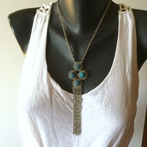 Turquoise & Chain Fringe Lariat Statement Necklace